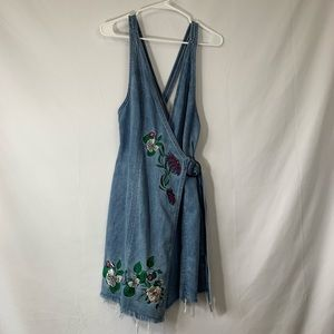 NWT H&M denim overall dress with flower embroidery